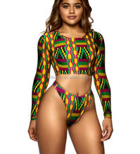 NY0075 2017 Fashion Sexy Lady African Print High Cut Thong Bikini Two Pieces Long Sleeve Swimwear