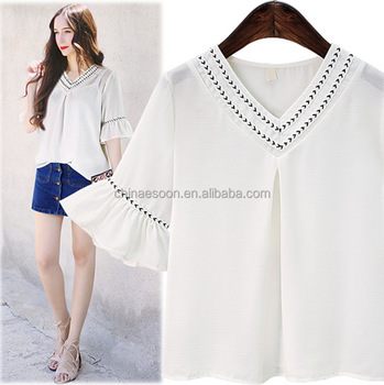 Eco-Friendly Calf Length white chiffon shirts with lace cuff in Quanzhou factory