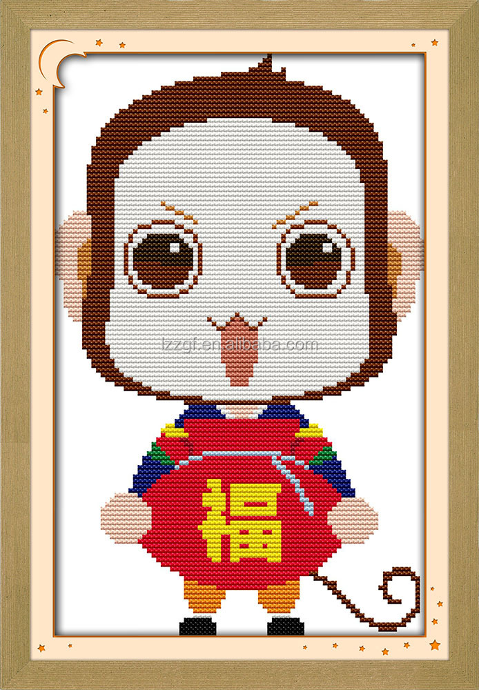 Blessing <strong>monkey</strong> cartoon style needlework stitches free <strong>embroidery</strong> designs pes quick and easy cross stitch