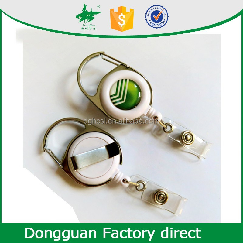 plastic id retractable cable wire reel/ badge holder with spinning belt clip