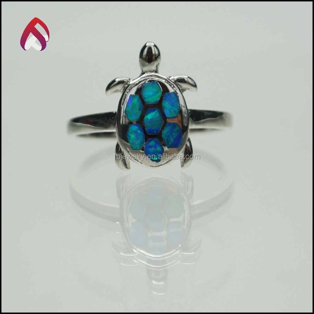 Sea animal series 925 sterling silver blue opal tortoise ring