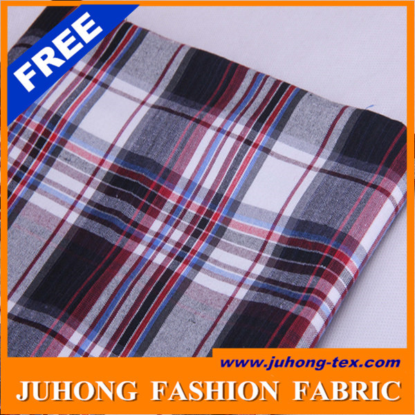 Checked woven cotton shirt fabric