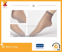Women transparent antiskid ankle socks silk stockigs with cotton sole