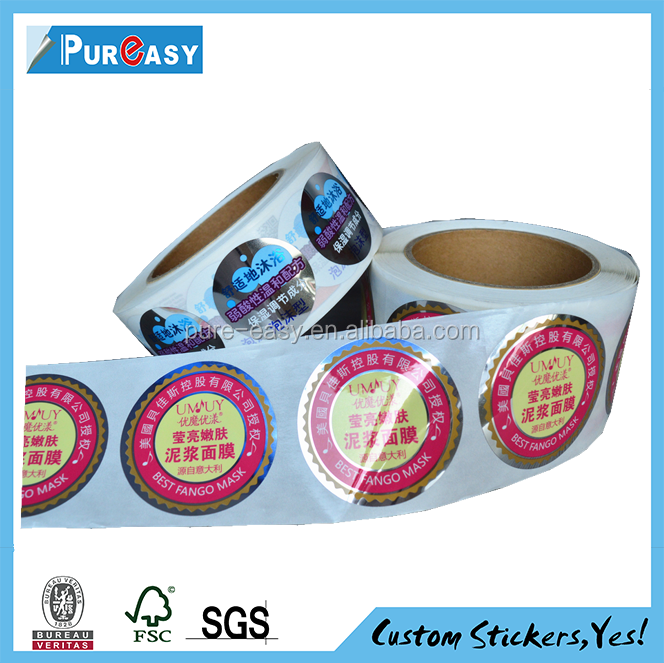 Beautiful full color label and circle logo skin care product decal printing