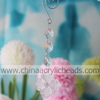 crystal flower hanging bead prism with swirl hook short bead strand 50pcs