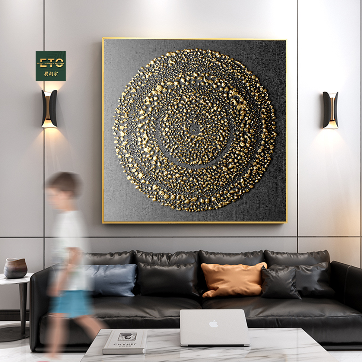 Home modern decoration extra large abstract art glass painting <strong>picture</strong>