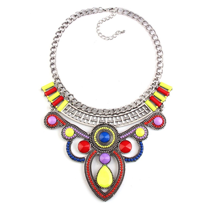 multi colored collar metal vintage statement necklace 42612