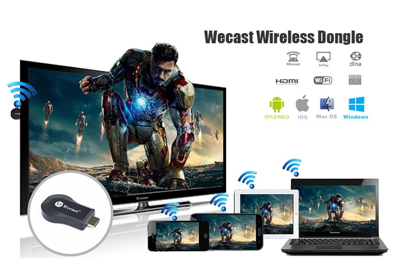 Cheapest price online streaming WiFi Wecast C2 Miracast Dongle Display Receiver, EZCast Airplay Media Player, TV Receiver Dongle