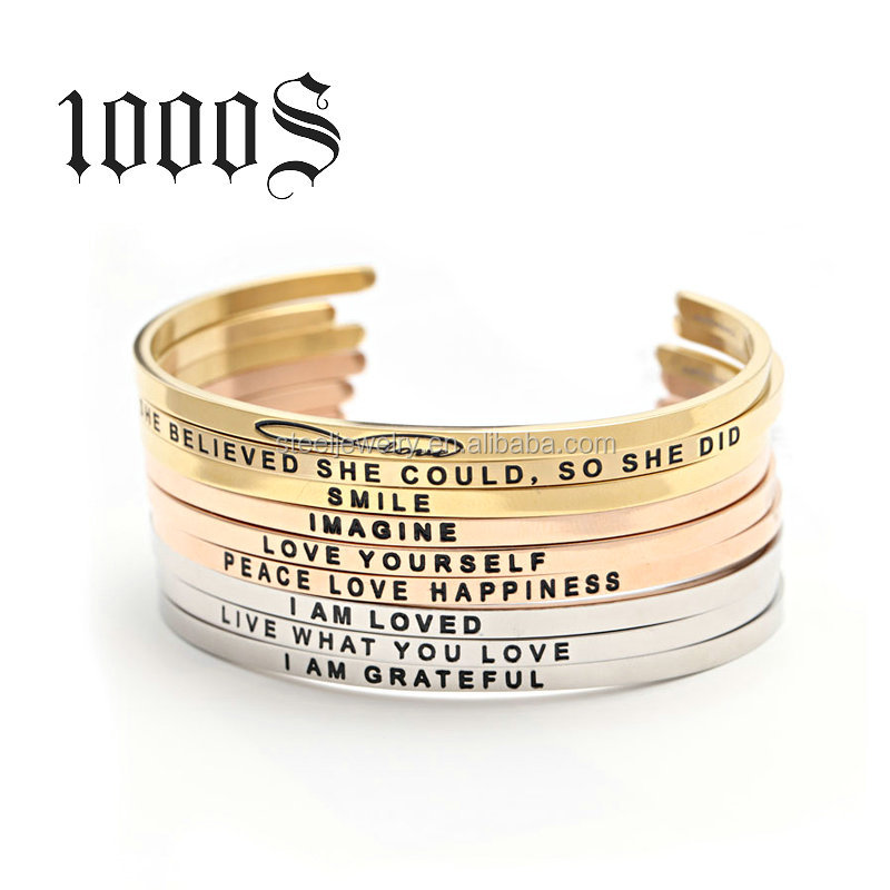 Christmas Costume Stamped Letter Stainless Steel Cuff Bracelet,Engraved Bracelets Wholesale