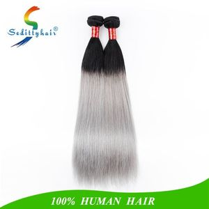Fast shipping wholesale peruvian hair top quality 9A Grade Ombre Black And Silver Gray Brazilian Hair Weave