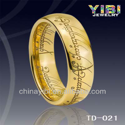Gold tungsten rings lord of the ring 14K 18K 24K gold plating