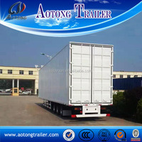 Box type 3 axle 50 tons van semi trailer with leaf spring suspension for sale