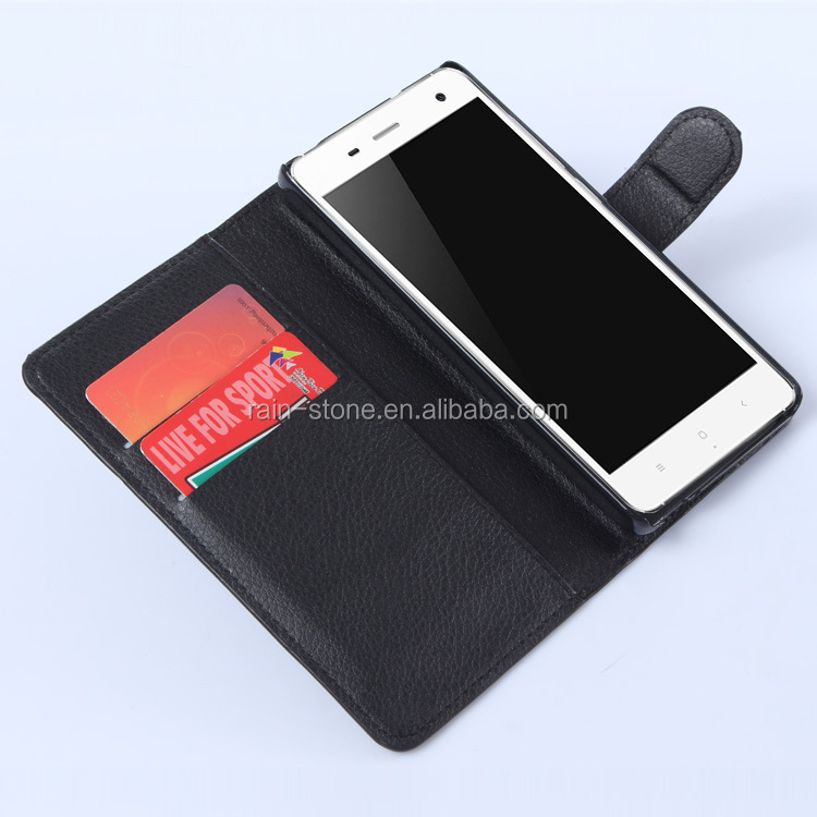 PU leather flip case for XiaoMi Mi 4 leather back cover with stand