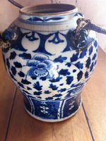 Antique White and Blue Chinese Ming Jar Heirloom Piece from the Philippines