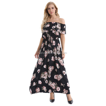 Black Flower Casual Long Party Women Dresses Off Shoulder Good Quality Ladies Formal Sexy Nice Young Party Evening Dress