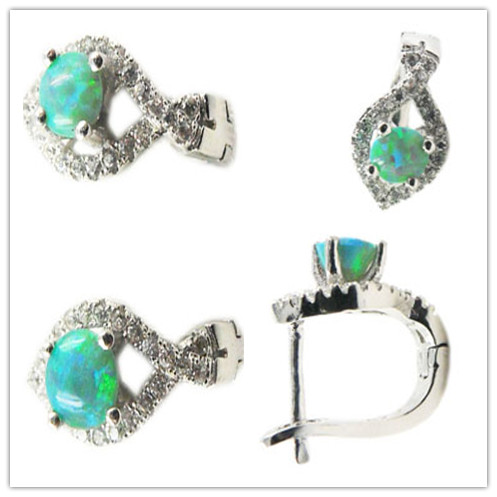 Green Fire <strong>K11</strong> Opal & Zircon 925 Silver Pendant Jewelry Sets with Stud Earrings Ring Pendant New Year Gift For Wife