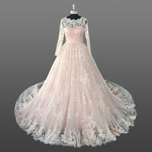 Muslim Wedding Dress Long Sleeve Pink Champagne Long Tail Wedding Dress Bridal Gown