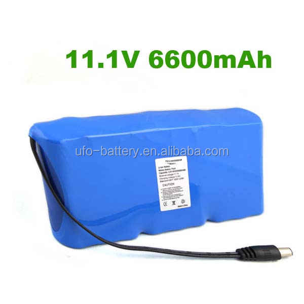 Lithium Cylindrial Battery 18650 3S3P 11.1V 6600mAh Lithium Ion Li-ion Battery Pack