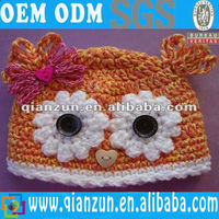 "Pumpkin Owl Baby Hat Newborn Girl 0-6mo ""Cotton yarn knit beanie bird cap gift"