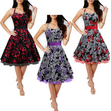 C89063A Halter Cotton Rockabilly Pinup Retro Vintage Dress 50s Swing Dress Audrey Hepburn Floral Print Dress