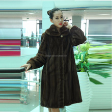 Y15A001 real mink fur coat with hood brown
