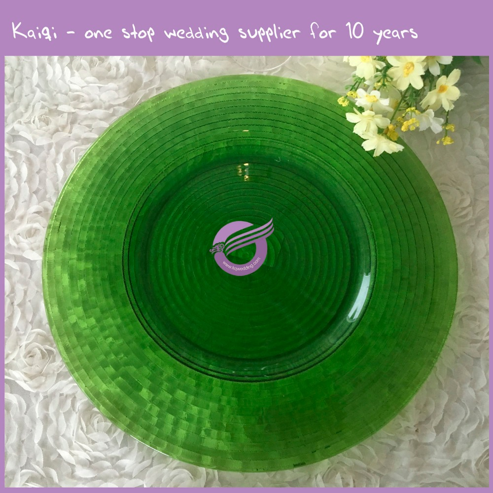 2017 new style china wholesale colorful green glass charger plate for event