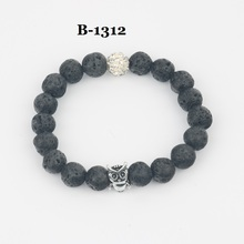New volcanic stone beads bracelet with owl charm and rhinestone ball/ lava beads bracelet free shipping