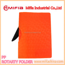 A4 PP material rotary clip file folder /report cover document holder with solid color