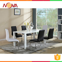 Home furniture dining room used high end luxury design best quality woode MDF with high gloss dining table on hot sale