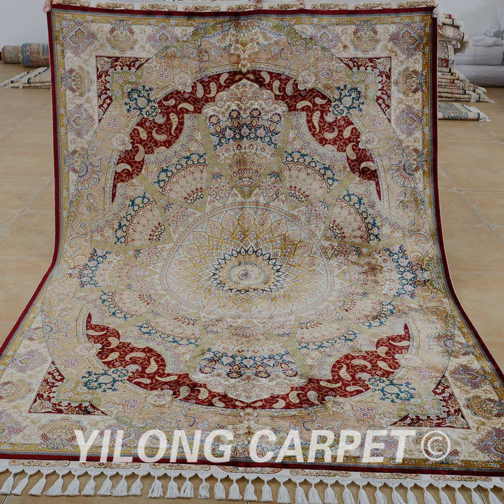 Yilong 5.6'x8.2' turkish natural silk on silk carpet chinese silk rugs for sale