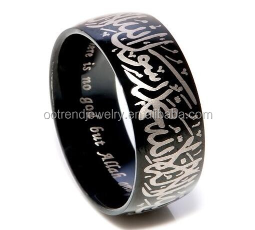 Black plating tungsten carbide signet allah arah muslim men ring