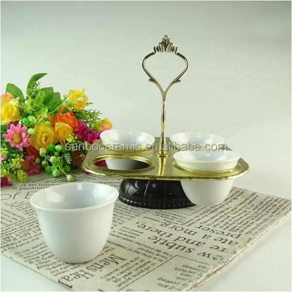 Factory Supplier SANBO STOCK bulk wholesale Arablic kawa cup set ceramic cawa cup with metal stand