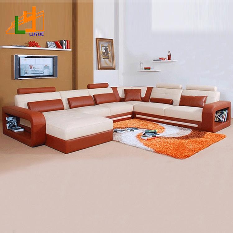 Top Quality Royal Design Sectional Corner Genuine Leather Sofa