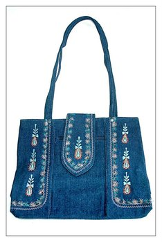 Denim Embroidery Shopping bag