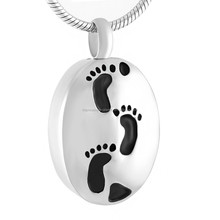 Oval Footprint Necklace Cremation Urn Jewelry Pendant to Put Ashes Wholesale