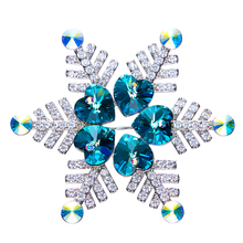 ODM OEM crystals from Swarovski jewelry factory custom blue purple heart design snowflake Christmas gift brooch