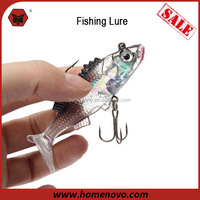 2015 Promotion Cheap Outdoors Fishing Tackle Hard Plastic 7.6x2 cm Two Hooks Soft Fishing Lure