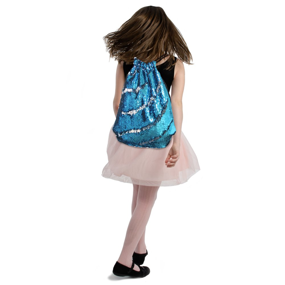 Fashion Sequin Magic School Backpack Drawstring Pouch Bag