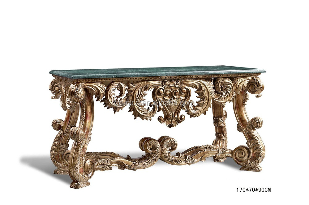 French style vintage luxury hand carved console table hall