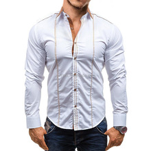 Business Casual Long Sleeves Spread-Collar Slim Fit Dress Shirt With Special Design