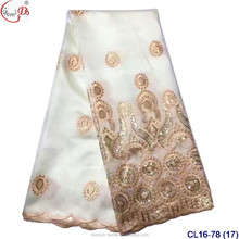 Fashionable White Nigerian George Wrappers CL16-78 African Lace Fabrics Indian George Wrappers For Sale