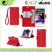 For Iphone 6 Plus PU Leather Wallet Phone Case With Hand Strap,tablet keyboard case, For Iphone 6s Plus Cover Phone Case
