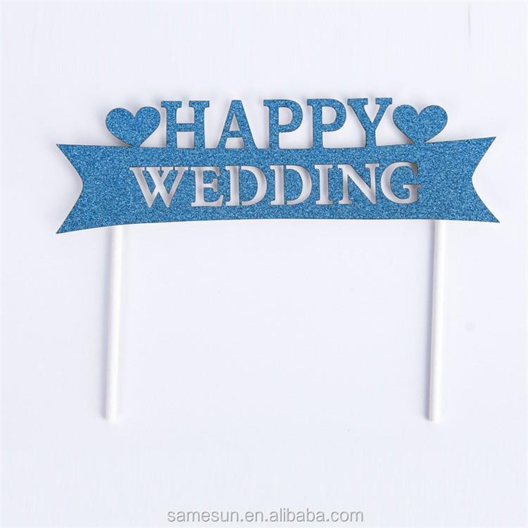 Happy wedding decoration glitter paper cake toppers