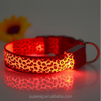 Safety LED Nylon Pet Dog Collar LED Light Flashing In Dark Leopard Series Pet Collar 2.5cm Wide Pet Products