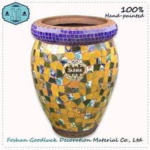 Hand Painted Outdoor Large Yellow Concrete Ceramic Flower Pot Molds