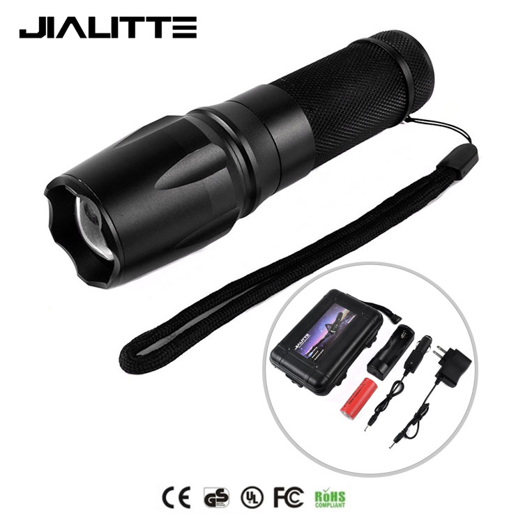 Jialitte F084 High Quality 5 Mode Waterproof Flash 2000LM XML-T6 Aluminum Zoom 10 <strong>W</strong> LED 878 Tactical Flashlight kit