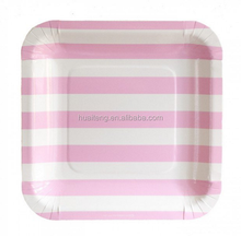 Custom printed Square colorful striped disposable paper plates, Cheap Pretty Party Dessert Picnic Paper Dishes,Birthday,Wedding