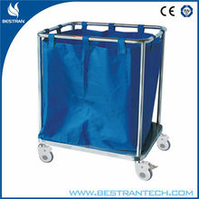 BT-SLT001 easy clean stainless steel frame hospital metal laundry trolley