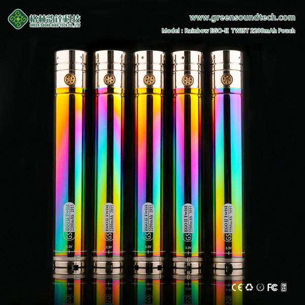 wholesale e cigarette starter kit GS EGoII Rainbow Twist 2200mah electronic cigarette dry herbal chamber vaporizer