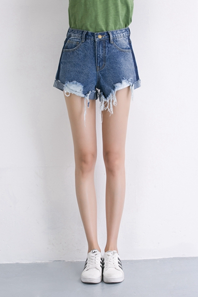 made in china hot selling summer fashion cotton womens' ripped denim jeans shorts trousers